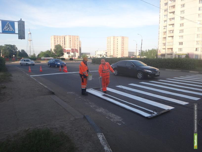 В Октябрьском районе Тамбова заканчивают обновлять дорожную разметку