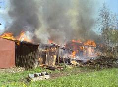 Тамбовские пожарные весь минувший день тушили сараи