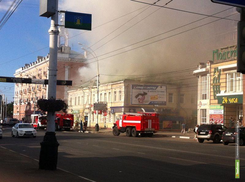 В центре Тамбова горит дом
