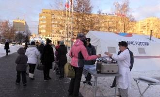На главной новогодней площадке для жителей и гостей Тамбова работает полевая кухня