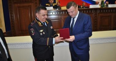 Главному полицейскому региона вручили нагрудный знак «За содействие развитию Тамбовской области»