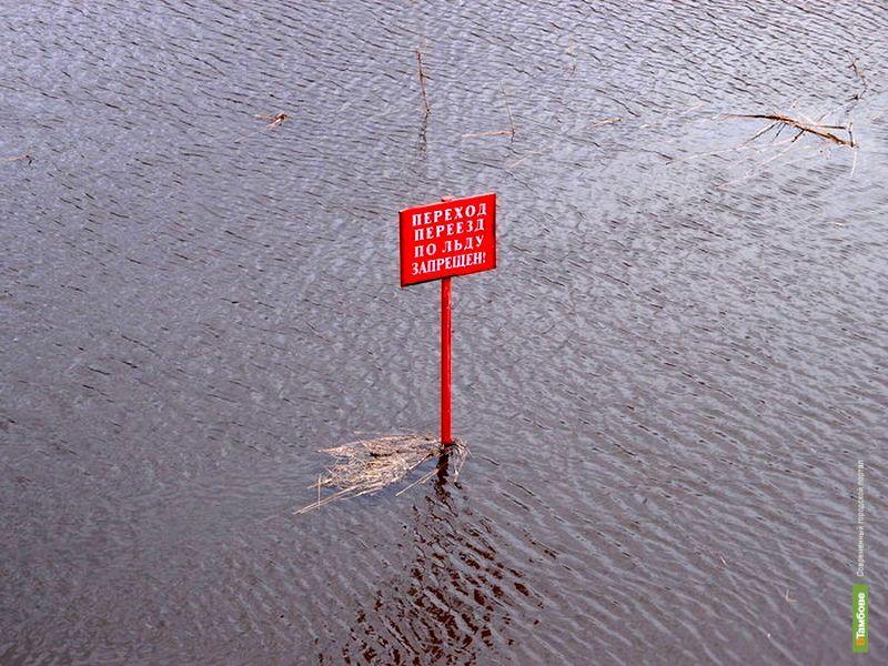 Талая вода затопила пляжи и прибережные кафе в Тамбове