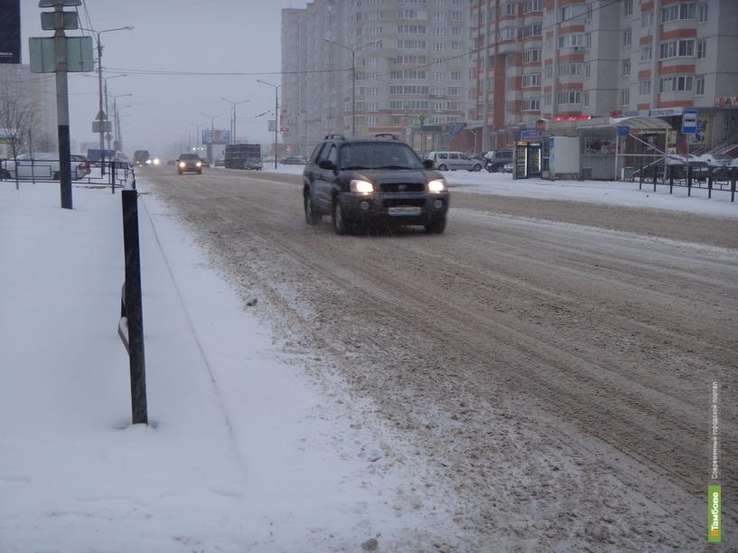 Снегопад в Тамбове доставил неудобства автомобилистам