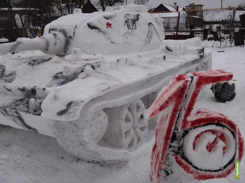 Тамбовчане смастерили из снега легендарный танк Т-44