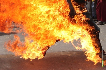 Житель Стрельцов пытался сжечь себя