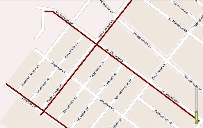 В Тамбове для транспорта закроют улицу Лысогорскую