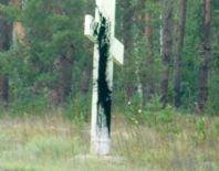 Вандалы испачкали поклонный крест при въезде в Тамбов