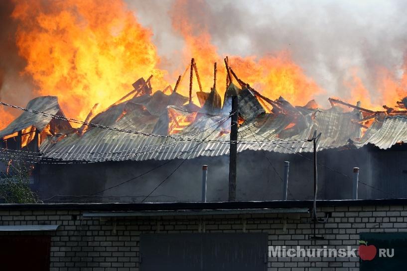Сильный пожар в мичуринском магазине потушили