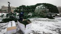В центре Владивостока рухнула 30-метровая новогодняя елка
