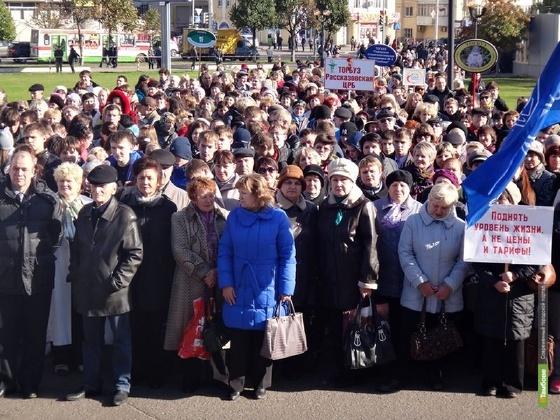 Митинг «притормозит» движение у площади Льва Толстого