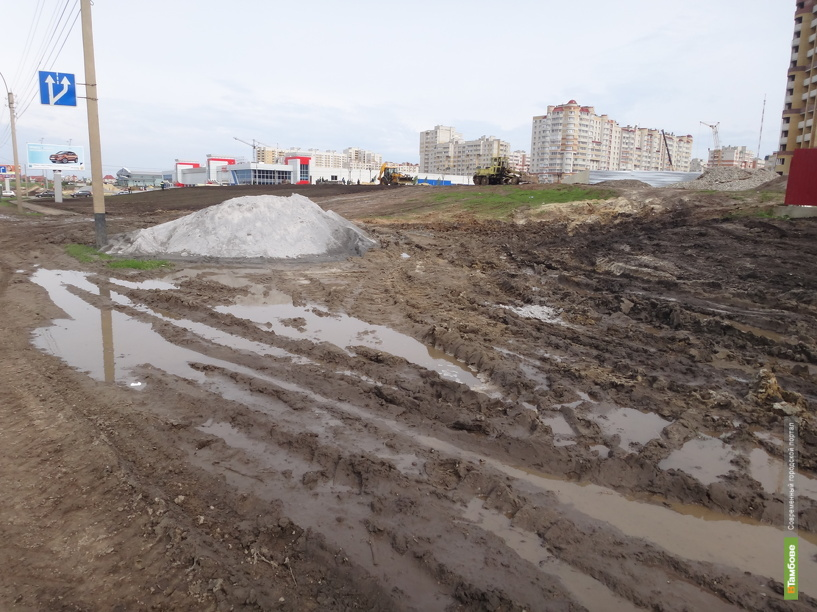На улице Мичуринской строители развели грязь