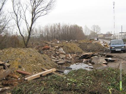 На въезде в Мичуринск выросла гора мусора