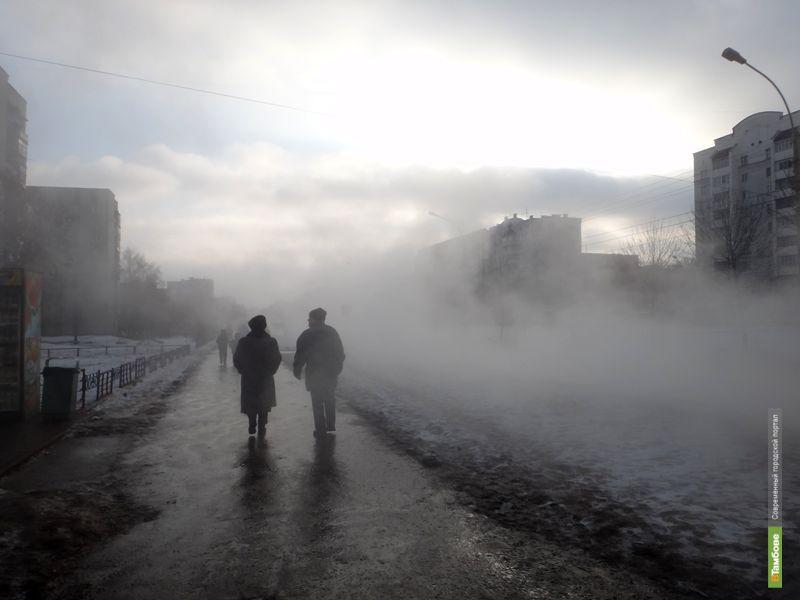 Улица Рылеева погрузилась в густой туман