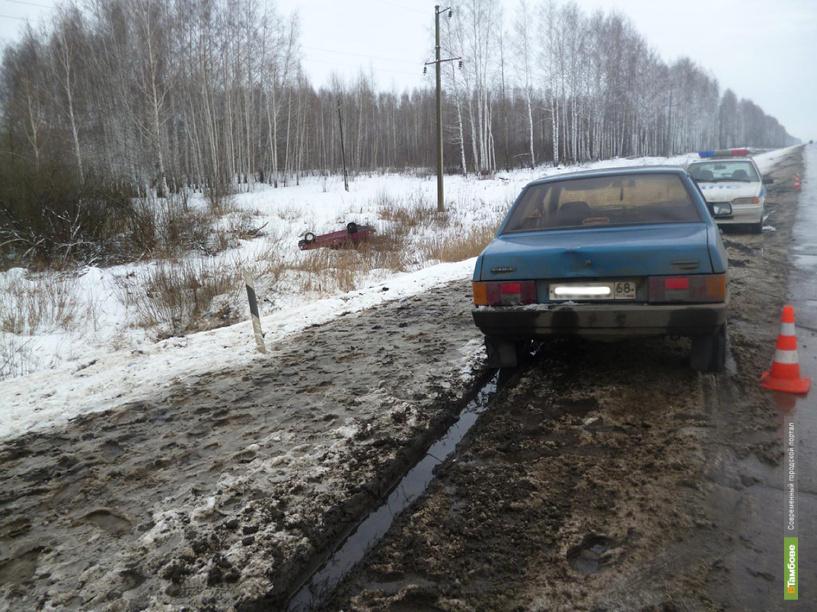 В Тамбовском районе манёвр обгона закончился столкновением двух авто
