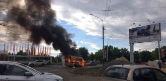 В Тамбове загорелась маршрутка