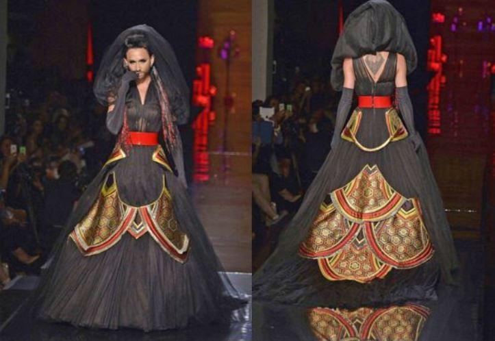 Кончита Вурст предстала на Неделе моды в Париже в образе готической невесты