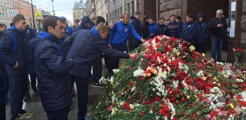 Игроки ФК «Тамбов» почтили память жертв теракта в питерском метрополитене