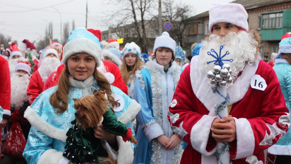 На фестивале Дедов Морозов и Снегурочек в новогодние костюмы одели даже домашних животных