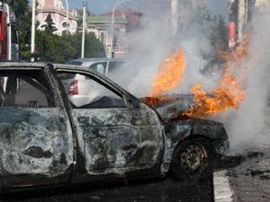 """Горящая """"двенашка"""" на час блокировала движение в Тамбове"""