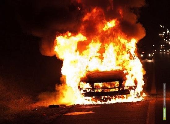 На тамбовской трассе загорелось авто