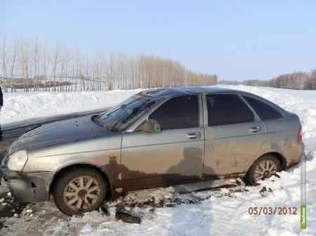 """""""Приора"""" перевернулась на трассе в Тамбовской области"""