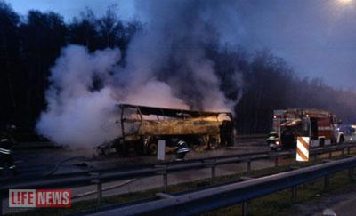 В Ступино сгорел автобус с тамбовчанами