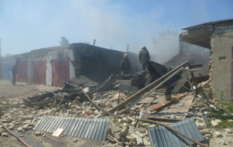 На севере Тамбова взрыв уничтожил несколько гаражей