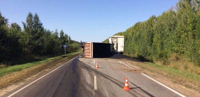 На трассе под Тамбовом перевернулся грузовик