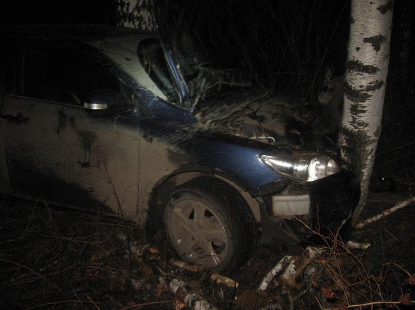 На трассе в Моршанском районе иномарка слетела в кювет и врезалась в дерево