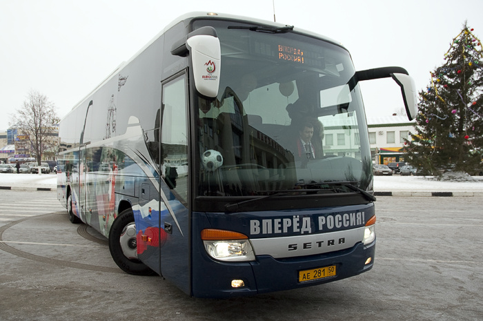Автобус российских футболистов на ЧМ-2014 украсит слоган «Нас не догонят»