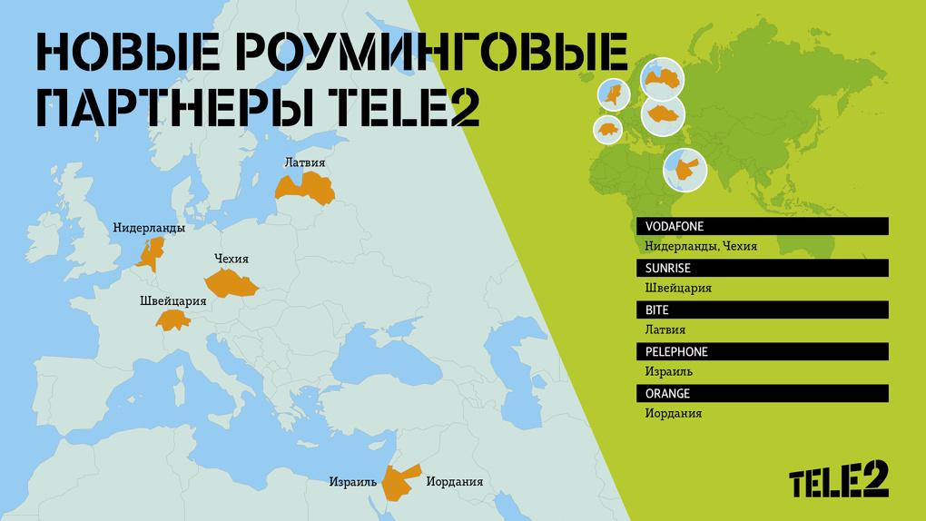 Tele2 нашла новых роуминговых партнеров в Европе и на Ближнем Востоке