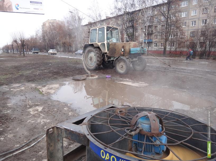 Дождь в Тамбове заставил коммунальщиков работать