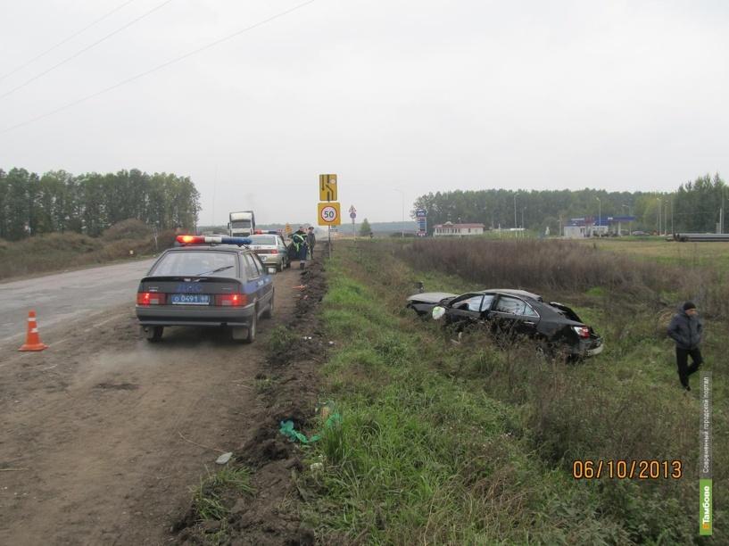 Иномарку вынесло с трассы в Тамбовской области
