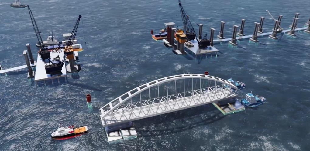 Строители Крымского моста приступили к установке железнодорожной арки